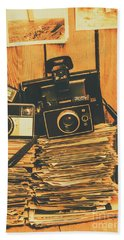 Vintage Photography Stack Beach Towel