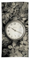 Beach Sheet featuring the photograph Vintage Pocket Watch Over Flowers by Edward Fielding