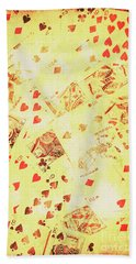 Vintage Poker Background Beach Towel