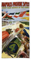 Vintage Poster Advertising The Indianapolis Motor Speedway Beach Towel