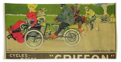 Vintage Poster Bicycle Advertisement Beach Towel