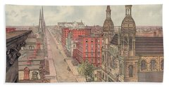 Vintage Print Of Fifth Avenue From 42nd Street In New York City, Looking North, 1904 Beach Towel