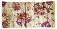 Vintage Purple Shabby Chic Country Roses On Wood Beach Towel