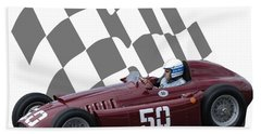 Vintage Racing Car And Flag 1 Beach Towel by John Colley