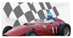 Vintage Racing Car And Flag 2 Beach Towel by John Colley