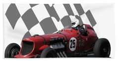 Vintage Racing Car And Flag 3 Beach Towel by John Colley