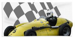 Vintage Racing Car And Flag 4 Beach Towel by John Colley