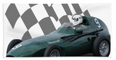 Vintage Racing Car And Flag 5 Beach Towel by John Colley