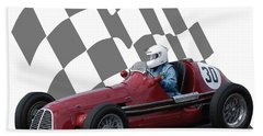 Vintage Racing Car And Flag 6 Beach Towel by John Colley