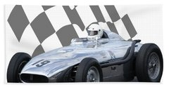 Vintage Racing Car And Flag 7 Beach Towel by John Colley