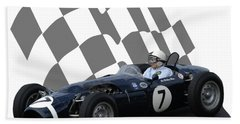 Vintage Racing Car And Flag 8 Beach Towel by John Colley