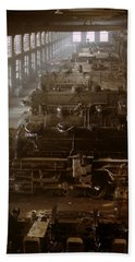 Vintage Railroad Locomotive Shop - 1942 Beach Towel