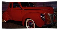 Vintage Red Car Beach Sheet