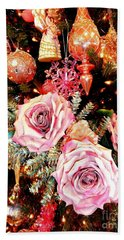 Vintage Rose Holiday Decorations Beach Towel