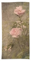 Vintage Rose Poster Beach Towel