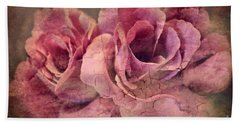 Vintage Roses - Deep Pink Beach Towel by Judy Palkimas