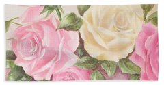 Vintage Roses Shabby Chic Roses Painting Print Beach Towel by Chris Hobel