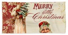 Vintage Santa Claus - Glittering Christmas Beach Sheet by Audrey Jeanne Roberts