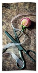 Vintage Scissors, Dried Pink Rose And Ribbon Beach Towel
