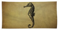 Vintage Seahorse Illustration Beach Towel by Peggy Collins