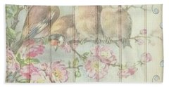Vintage Shabby Chic Floral Faded Birds Design Beach Towel