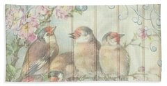 Vintage Shabby Chic Floral Faded Birds Design Beach Towel