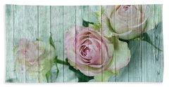 Vintage Shabby Chic Pink Roses On Wood Beach Sheet