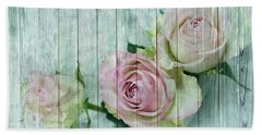 Vintage Shabby Chic Pink Roses On Wood Beach Towel