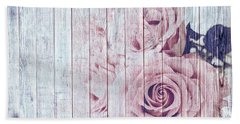 Vintage Shabby Chic Dusky Pink Roses On Blue Wood Effect Background Beach Towel