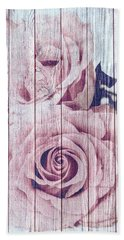 Vintage Shabby Chic Dusky Pink Roses On Blue Wood Effect Background Beach Sheet