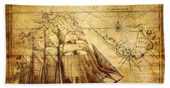 Vintage Ship Map Beach Towel