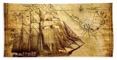 Beach Towel featuring the mixed media Vintage Ship Map by Lucia Sirna