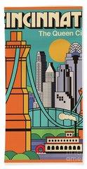 Vintage Style Cincinnati Travel Poster Beach Sheet