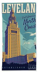 Vintage Style Cleveland Travel Poster Beach Sheet