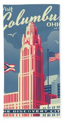Vintage Style Columbus Travel Poster Beach Towel by Jim Zahniser