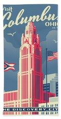 Vintage Style Columbus Travel Poster Beach Sheet