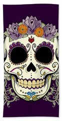 Vintage Sugar Skull And Flowers Beach Towel by Tammy Wetzel