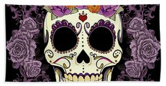 Vintage Sugar Skull And Roses Beach Towel