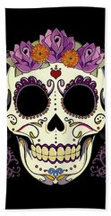 Vintage Sugar Skull And Roses Beach Towel by Tammy Wetzel