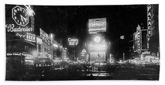 Vintage Times Square At Night Black And White Beach Towel by John Stephens