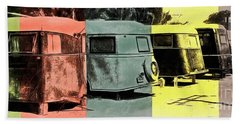 Beach Sheet featuring the painting Sarasota Series Vintage Trailer Park Pop Art by Edward Fielding
