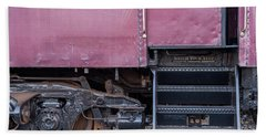 Beach Towel featuring the photograph Vintage Train Car Steps by Terry DeLuco