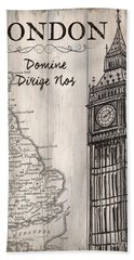 Vintage Travel Poster London Beach Towel by Debbie DeWitt