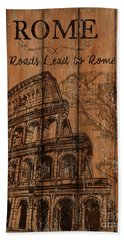 Beach Towel featuring the painting Vintage Travel Rome by Debbie DeWitt