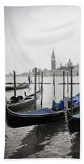 Vintage Venice In Black, White, And Blue Beach Towel