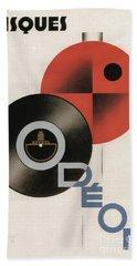 Vintage Vinyl Records Art Deco Beach Towel