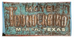 Beach Towel featuring the photograph Vintage Weathered Thunderbird Motel Sign Marfa Texas by John Stephens