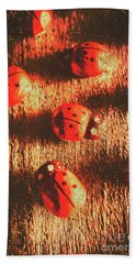 Vintage Wooden Ladybugs Beach Towel by Jorgo Photography - Wall Art Gallery