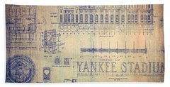 Vintage Yankee Stadium Blueprint Signed By Joe Dimaggio Beach Towel
