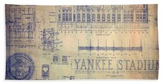 Vintage Yankee Stadium Blueprint Signed By Joe Dimaggio Beach Towel